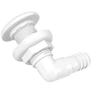 "THRU HULL FITTING 1-1//8/"" HOSE WHITE POLYPROPYLENE 232 TH1292DP 90 DEGREE BOATING"