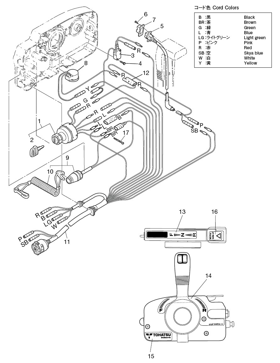 21. component parts of remote control box (electrical parts ... tohatsu outboard wiring diagram mercury outboard tachometer wiring diagram nissan tohatsu parts